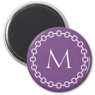 White Chain Link Ring Circle Monogram Magnet