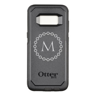 White Chain Link Ring Circle Monogram OtterBox Commuter Samsung Galaxy S8 Case