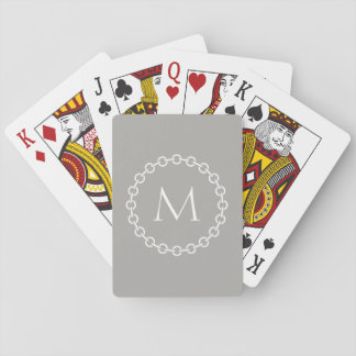 White Chain Link Ring Circle Monogram Playing Cards