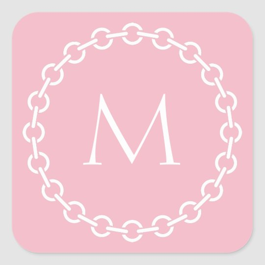 White Chain Link Ring Circle Monogram Square Sticker