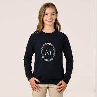 White Chain Link Ring Circle Monogram Sweatshirt