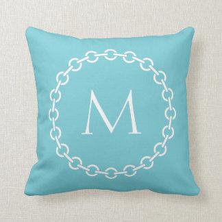 White Chain Link Ring Circle Monogram Throw Pillow