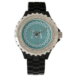 White Chain Link Ring Circle Monogram Wrist Watch