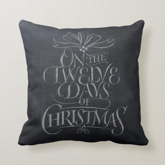 White Chalk '12 Days of Christmas' Fashion Pillow