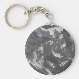 White Chalk and Black Ink Basic Round Button Keychain