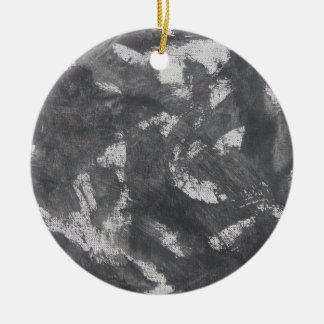 White Chalk and Black Ink Ceramic Ornament