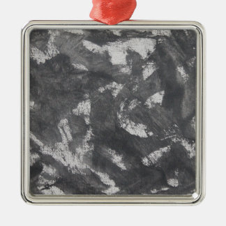 White Chalk and Black Ink Metal Ornament