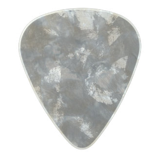 White Chalk and Black Ink Pearl Celluloid Guitar Pick