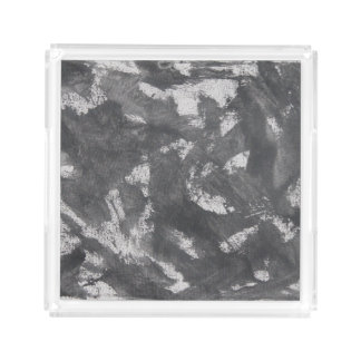 White Chalk and Black Ink Serving Tray