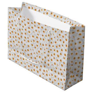 White Chamomile Flower Pattern Large Gift Bag