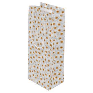 White Chamomile Flower Pattern Wine Gift Bag