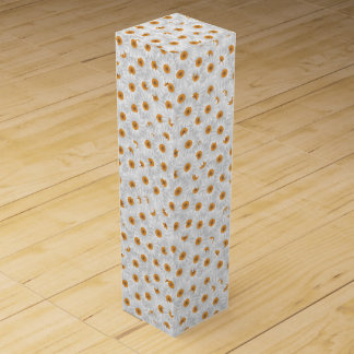 White Chamomile Flower Pattern Wine Gift Box