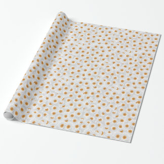 White Chamomile Flower Pattern Wrapping Paper