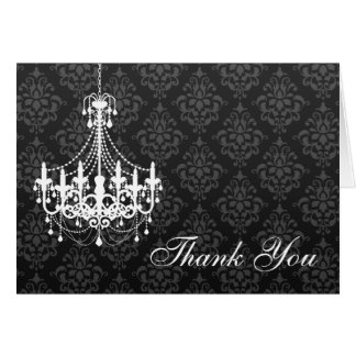 White Chandelier Black Damask Thank You Note Card