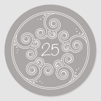 White Charming Swirls Anniversary Stickers