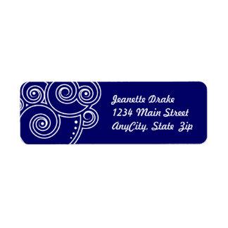 White Charming Swirls Return Address Labels