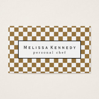 White Checkered Pattern Business Cards Brown
