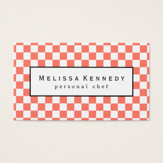 White Checkered Pattern Business Cards Coral