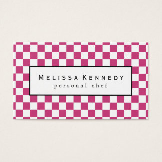 White Checkered Pattern Business Cards Hot Pink