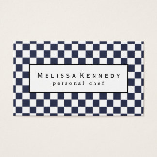 White Checkered Pattern Business Cards Navy Blue