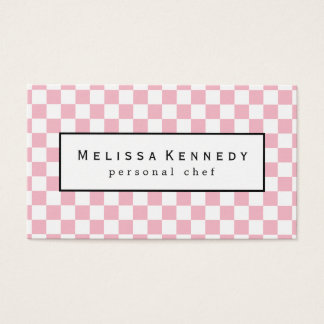 White Checkered Pattern Business Cards Pink