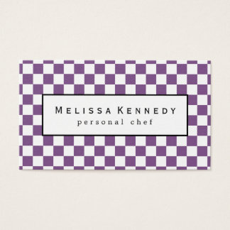 White Checkered Pattern Business Cards Purple