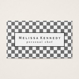 White Checkered Pattern Business Cards Slate Gray