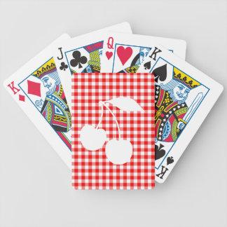 White Cherries Red Gingham Poker Deck