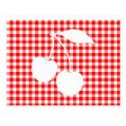 White Cherries Red Gingham Postcard