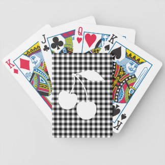 White Cherries with Black Gingham Bicycle Playing Cards