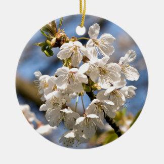 White Cherry bare OM Ceramic Ornament
