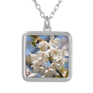 White Cherry bare OM Silver Plated Necklace