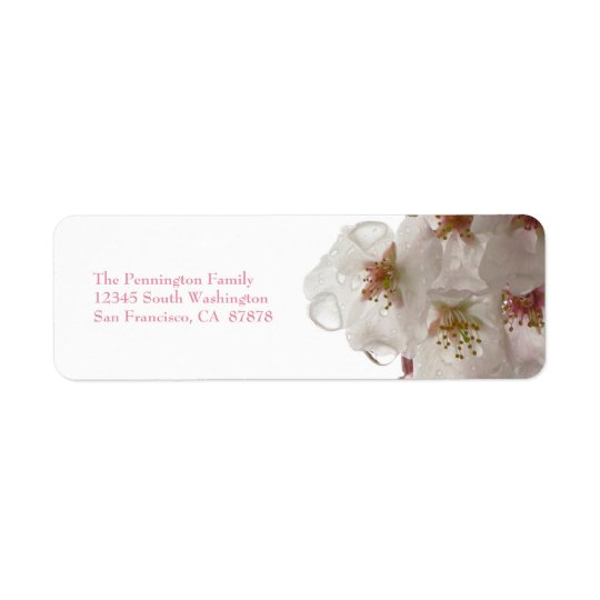 White cherry blossom flower wedding address labels