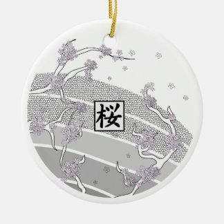 White Cherry Blossom Tree Ceramic Ornament