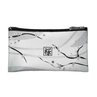 White Cherry Blossom Tree Cosmetic Bags