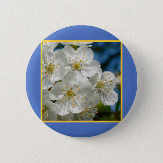 White cherry Blossoms 02, Spring 2 Inch Round Button