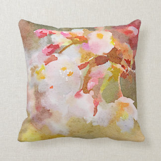 White Cherry Blossoms Digital Watercolor Painting Throw Pillow