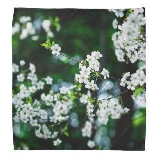 White Cherry Blossoms Green Leaves Bandanas