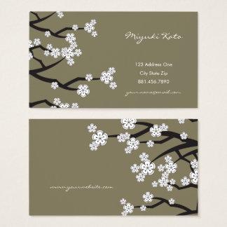 White Cherry Blossoms Sakura Asian Business Card