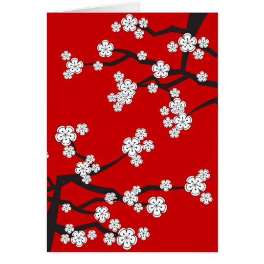 White Cherry Blossoms Sakura Spring Flowers Branch Card