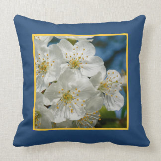 White cherry Blossoms, Spring Throw Pillow