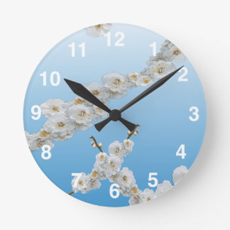 White Cherry Blossoms Wallclock
