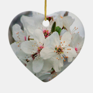 White Cherry Floral Ceramic Heart Ornament