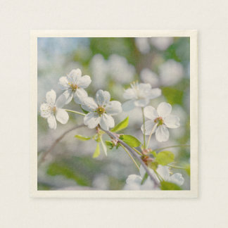 White Cherry Flower Disposable Napkins