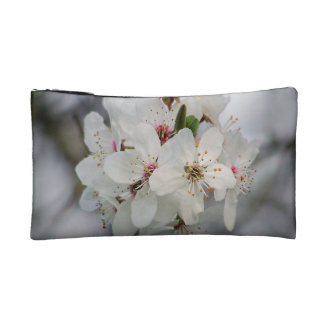 White Cherry Flower Makeup Bags