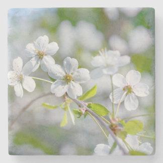 White Cherry Flower Stone Coaster