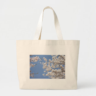 White cherry flowers large tote bag