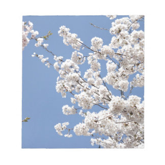 White cherry flowers notepad