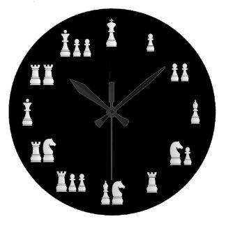 White Chess Pieces Clock