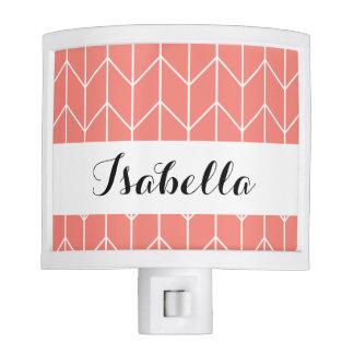White Chevron on Coral Pink Modern Chic Nite Lites